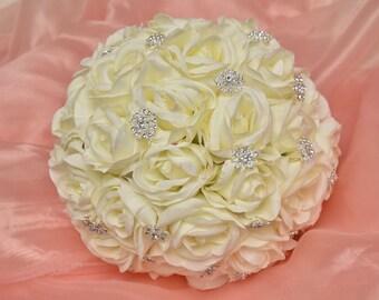 Stephanie Bethan - Cream Rose and Brooch Bridal Bouquet