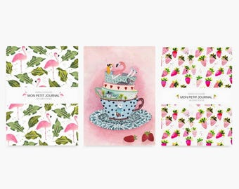 Notebook A6, set de 3 carnets, flamant rose, fraise, Alice au pays des merveilles, journaux, carnet de notes, carnet à motifs, ligné