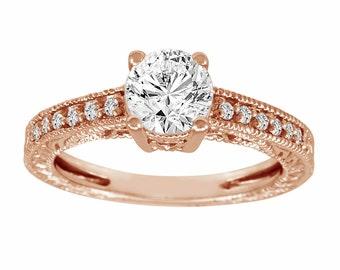 Rose Gold Diamond Engagement Ring, Bridal Ring, 1.15 Carat Certifed Handmade Vintage Style Engraved Pave Set
