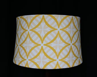 Drum lampshade Round yellow white