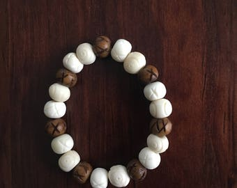 Wishbone Bracelet. Bone Bracelet. Wood Bracelet. Beaded Bracelet.