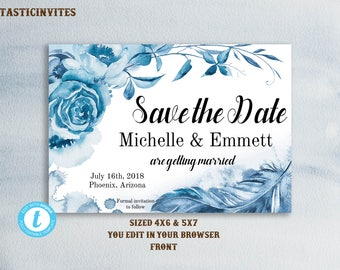 Save the Date Photo Card Template, Watercolor Floral Save the Date Template, Save Our Date, Printable, Boho, Rustic, Printable,Photo,Wedding
