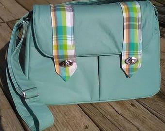Custom Camera bag, Messanger bag, Vinyl bag, adjustable strap, zipper pocket, slip pocket