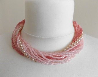 Beautiful Vintage 1950's Multi Strand Pink/White Beaded Pearl and Seed Bead Choker Necklace.