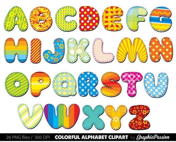 alphabet clipart color alphabet digital alphabet letters rh etsy com clipart alphabet letters black and white clipart alphabet letters free