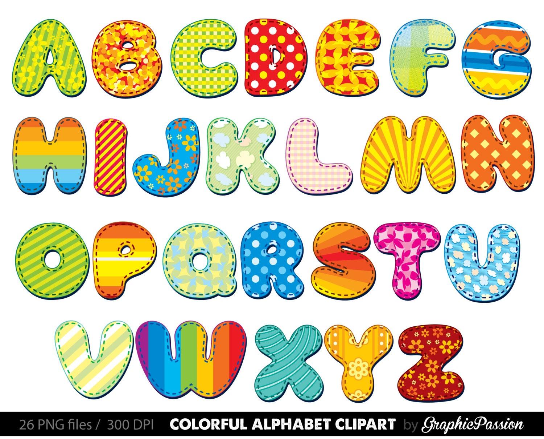 Alphabet Clipart Color Alphabet Digital Alphabet Letters