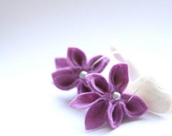 SALE Heather Felt Flower Earrings, Purple Felt Flower Earrings