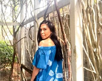 Land to Sea Cold Shoulder Dress