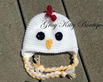 Crochet Chicken Hat - Chicken Hat - Crochet Chick Hat - Chicken Costume - Chicken Halloween Costume
