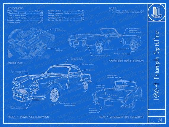 1964 triumph spitfire blueprint poster 18x24 jpeg malvernweather Choice Image