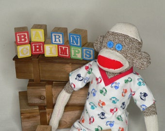 Sock Monkey With Custom Designed Pajamas (18 inches tall) - Rockford Red Heel Socks
