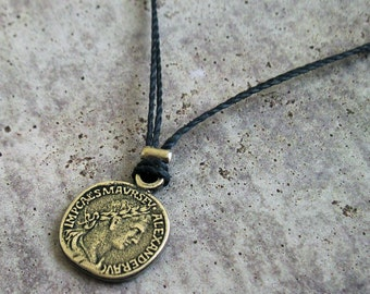 Mens Coin Necklace - Mens Black Necklace - Coin Necklace - Mens Jewelry - Necklaces For Men - Silver Coin Necklace - Boyfriend Gift
