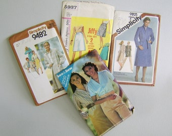Vintage Sewing Pattern Lot Women Medium Coat Pants Skirts Jacket