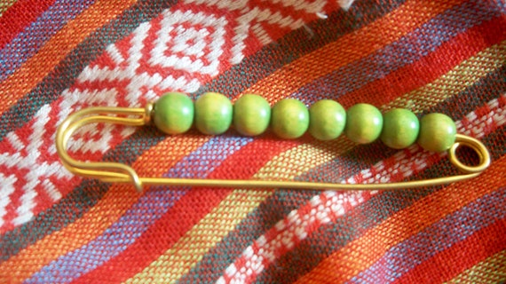 Wooden Beads Diaper Pin Skirt or Shawl or Scarf Pin Green Wood Beads  #SophieLadyDeParis