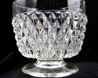 Dessert bowl of diamond pattern clear pressed glass w/ short stem & scalloped foot vintage from 1960s / candy dish / ice cream / table decor