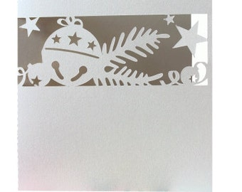 1 Christmas Card , Blank inside , Bells , Stars , PaperCut , Holidays , December , New Year