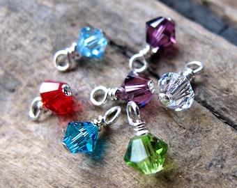Swarovski Birthstone Charm Dangle - November, December, January, February etc for Necklace - Add on Pendant - Sterling Silver Wrapped Charm