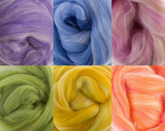 Extra Fine 19 Micron Merino Roving Sugar Candies Six Colors 4.5 Ounces for Feltiing