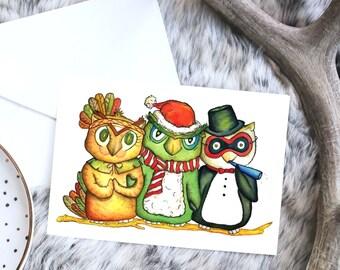 HAPPY OWLI-DAYS!  Holiday Card Set - Christmas, Holiday Card Packs, Owl - Thanksgiving, New Years, Christmas Card set