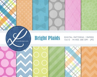 Bright Plaids - 12 digital paper patterns - INSTANT DOWNLOAD