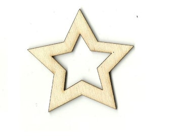 Star - Laser Cut Out Unfinished Wood Shape Craft Supply SKY54