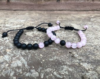 ADJUSTABLE Pink Distance Bracelets Set - Pink & Black Matching Pair - Long Distance - For Friendships/relationships/couples