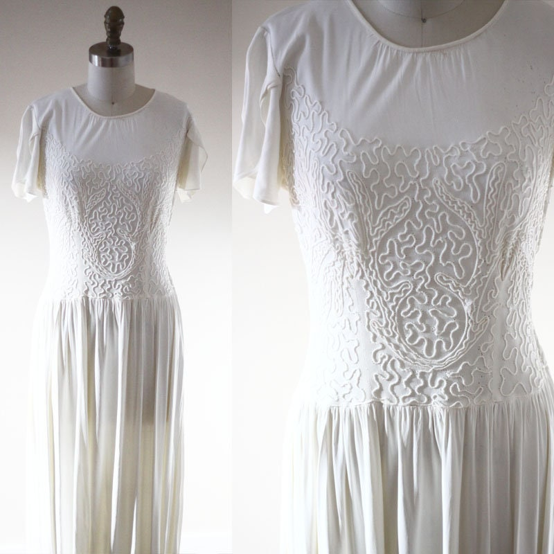 1930s white soutache dress // 1930s wedding dress // vintage wedding ...