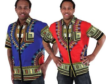 Dashiki Print Button Up Shirt