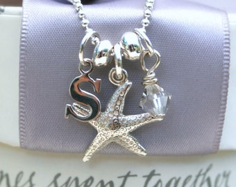 Sterling Initial and Charm Necklace with 18 inch chain