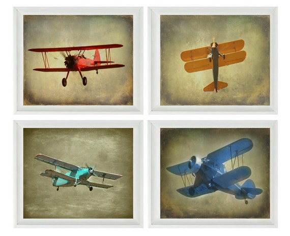 Vintage Airplane Photography Biplane Photo Nursery