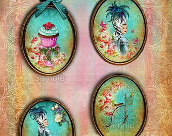 Marie Antoinette let them eat cake Digital Images 30x40 Digital Collage Sheet + Gift Tags + Cards Instant Download - Cabochons, Scrapbooking