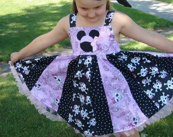 custom boutique disney minnie mouse inspired pirate punk twirl dress