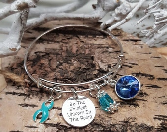 TE-1 Ovarian Cancer Unicorn Jewelry Cervical Cancer Unicorn Bracelet PCOS Gift For Her December Birthstone Bracelet Tourettes Awareness