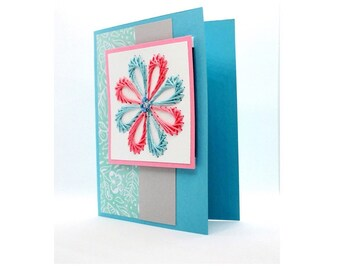Embroidered Greeting Card with Beads - Happy - Portrait
