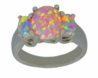 Pink Opal Oval Ring .925 Sterling Silver Rhodium Finish