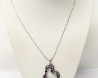 Asymmetrical Antique Silver Heart on Heart Charm Necklace