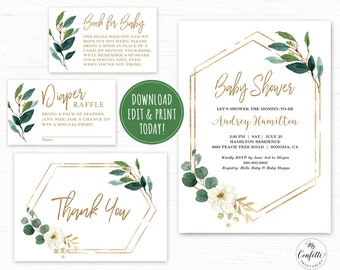 Baby shower invitation template etsy editable greenery baby shower invitation template printable baby shower invitation bundle modern greenery green gold neutral mcp813 filmwisefo