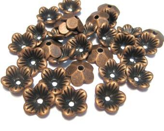 20pcs Antique Copper Flower Bead caps 10x3mm