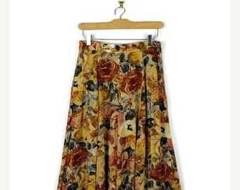 ON SALE Vintage Yellow x Floral Printed Slouchy Flare Skirt from 90's