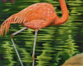 The Pink Flamingo large Oil original painting stretched canvas 23 X 34 inchesTop selling artist