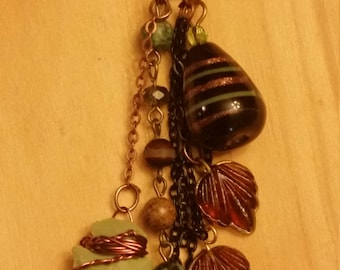 Artisan Necklace Mixed Metals  Jewelry  Wire-wrapped Agate Arrowhead Glass Beads Shipping
