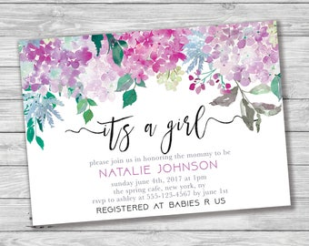 It's a Girl Baby Shower Invitation, Pink Baby Shower, Floral Baby Shower Invitation, Printable Invitation, Hydrangea Baby Shower, Baby Girl