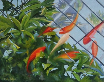 Oil Painting on Canvas, fish in pool, Koi
