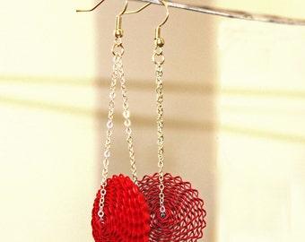 Paper Earrings, Paper Bead Jewelry, Red Dangle Earrings, Long Chain Earrings, Silver Blue Gold Earrings, 1st Anniversary Gift for Wife