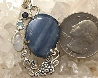 Kyanite, Moonstone and Blue Topaz Pendant Necklace