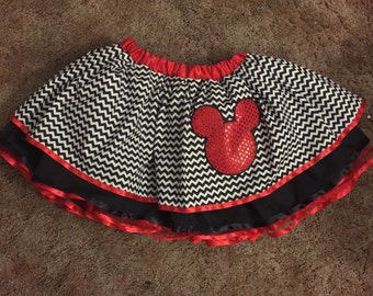 Black and white chevron mickey head applique skirt for that perfect dinsney girl!
