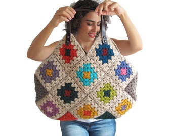 Chunky Granny Sguare Afghan Handbag With Leader Handles