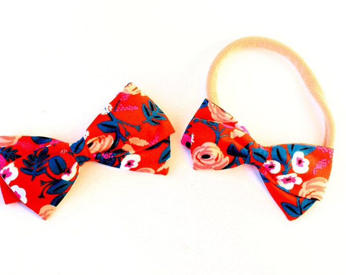 Rifle Paper Co Bow - Paint Roses Orange RAYON - Fabric Hair Bows for Girls - Nylon Headbands or Hair Clips for Girls