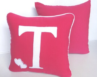 hot pink love pillow. white  monogram cushion cover.   custom  made letter of your choice and  colour.  16 inches