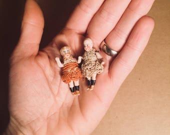 Two antique miniature porcelain dolls, frozen Charlotte, antique dolls, doll house, porcelain, doll, frozen, Charlotte, antique, dolls